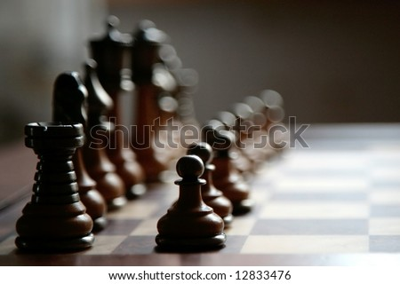 ready to play chess board - stock photo