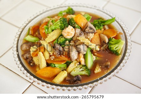 Ready to serve stir fried cap cai or mixed vegetable, chinese cuisine in Indonesia - stock photo