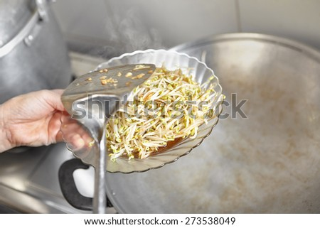 Ready to served stir fried bean sprout are put on the plate - stock photo