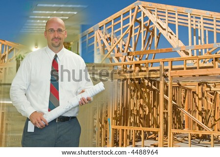Ready-to-Use construction, architecture, drawing, under-construction, building montage of images - stock photo