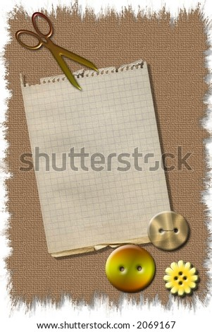 Ready to use craft sewing stationary template - stock photo