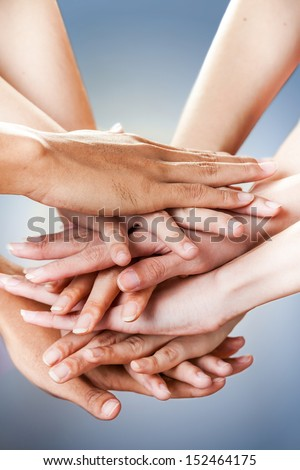 ready to work in team, ready to fight - stock photo