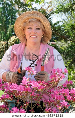 Ready to work on the azalea beds - stock photo