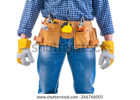 ready too work construction concept isolated on white background  - stock photo