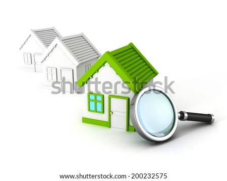 reai estate house search with magnifier glass. concept 3d render illustration - stock photo