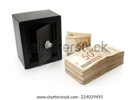 Reais (Real), Brazilian money background and safe. - stock photo