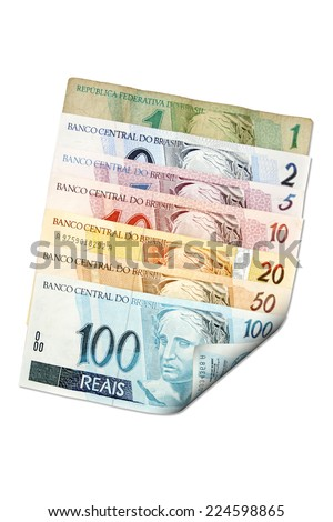Reais (Real), front of Brazilian money. From one to hundred reais. - stock photo