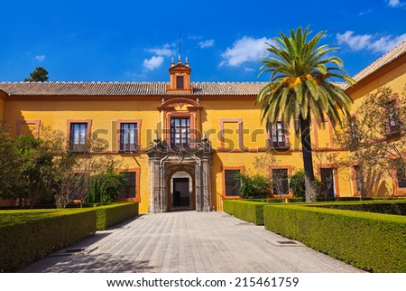 Real Alcazar Gardens in Seville Spain - nature and architecture background - stock photo