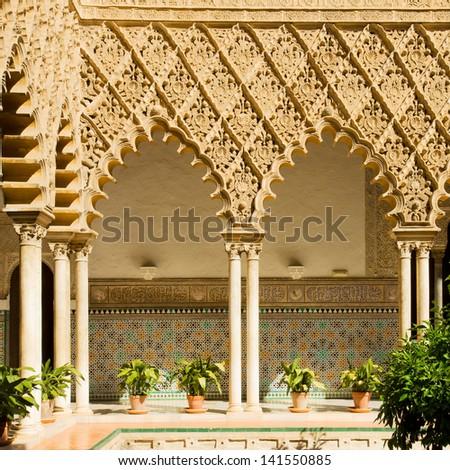 Real Alcazar, patio del Crucero, Sevilla, Spain - stock photo