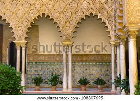 Real Alcazar (royal palace), patio del Crucero, Sevilla, Spain - stock photo