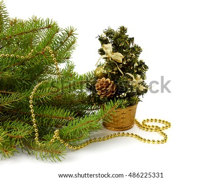 Real Christmas Tree With Lights Isolated Stock Photos Royalty