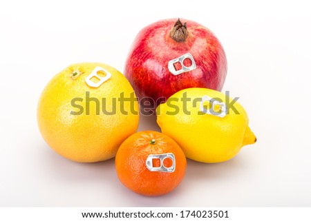 real and fresh juices - stock photo