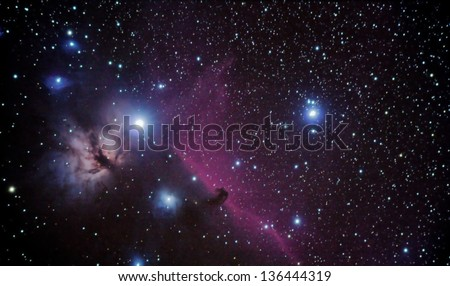 real astronomic picture taken using telescope of famous horsehead nebulae, in orion constellation - stock photo