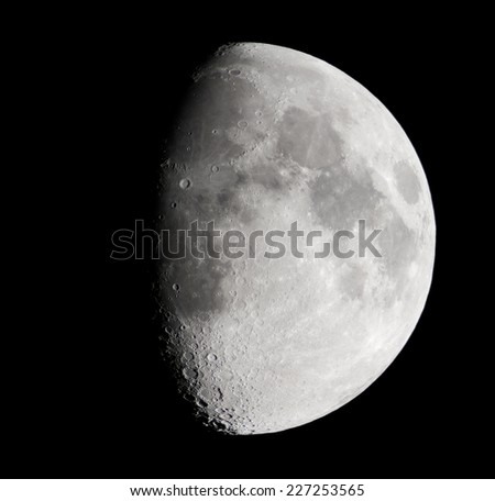 real astronomic picture taken with telescope, of the lunar surface - stock photo