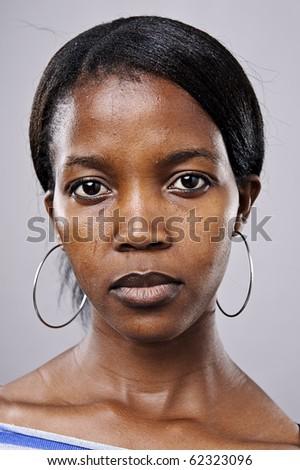Real beautiful black woman portrait in studio - stock photo