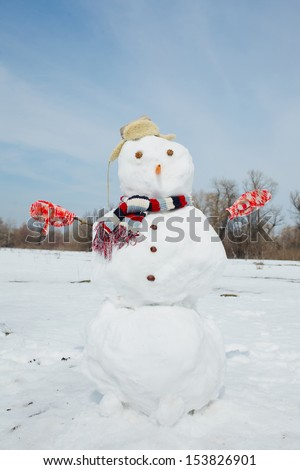 Real big amusing snowman with top hat and carrot nose on a beautiful and cold winter morning. - stock photo