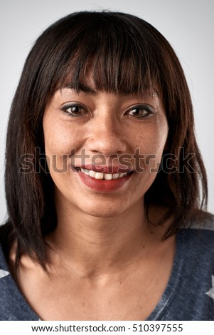 Real black african woman smiling portrait full collection of diverse faces