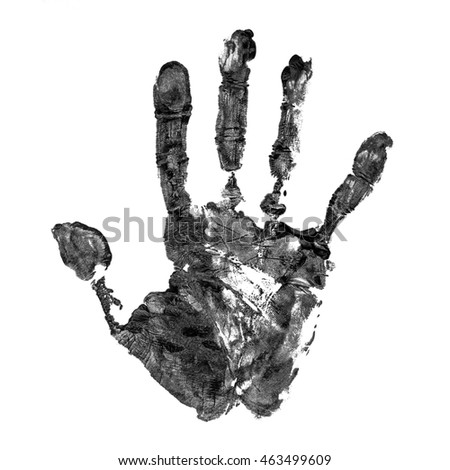 Real black hand print on real paper isolated on white background