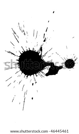 real black ink blot isolated - stock photo