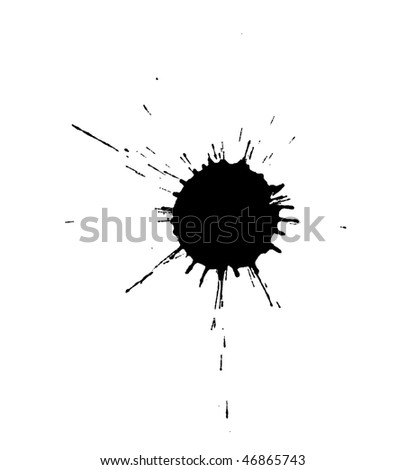 real black ink blot isolated