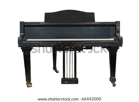 Real black old grand  piano isolated on white - stock photo