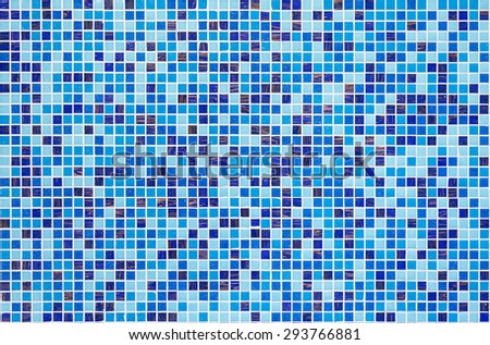 Real blue tiled wall pattern - stock photo