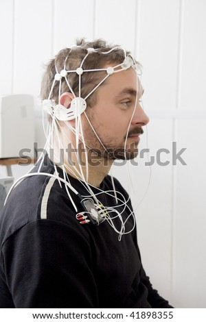 real brain investigation picture - encephalography - stock photo