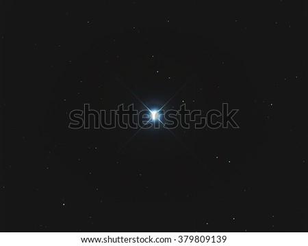 Real Bright blue star Sirius taken with CCD camera through medium focal length telescope - stock photo