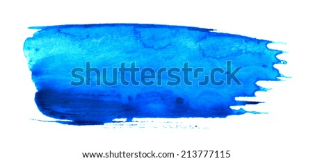 Real brush stroke with blue paint - stock photo