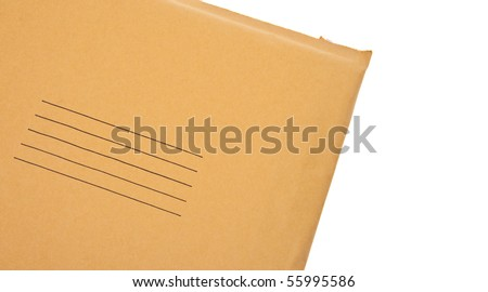 Real Business Envelope with Lines for Shipping Address Close Up Border Image Isolated on White with a Clipping Path. - stock photo