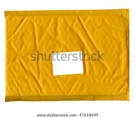 Real Business Envelope With White Shipping Label - stock photo