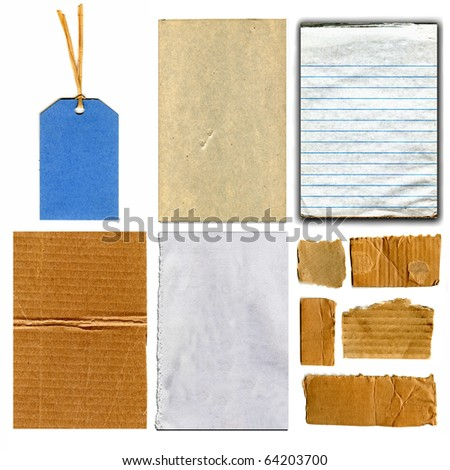 Real Cardboard And Paper Item Pieces, Tape and Gift Tag Each Isolated On White - stock photo