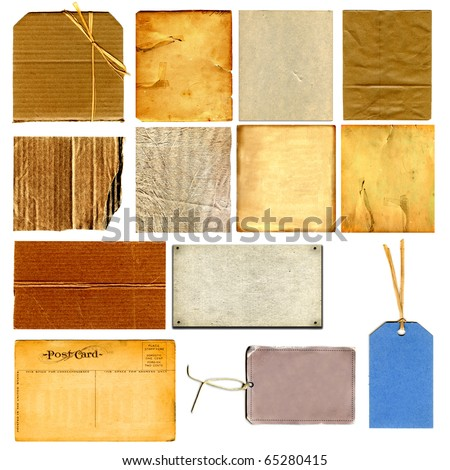 Real Cardboard And Paper Items Isolated On White - stock photo