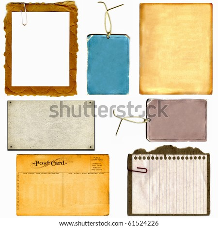 Real Cardboard And Paper Items, Postcard From 1900s And Vintage Tags Each Isolated On White - stock photo