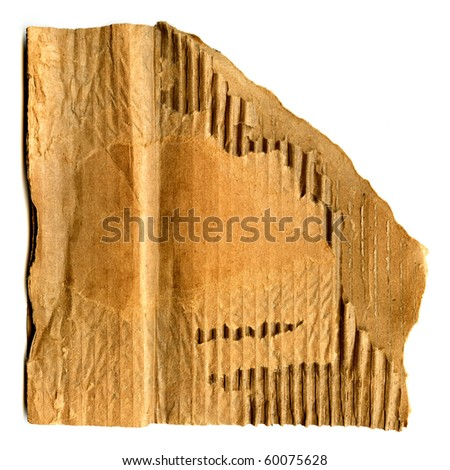 Real Cardboard Piece Isolated On White - stock photo