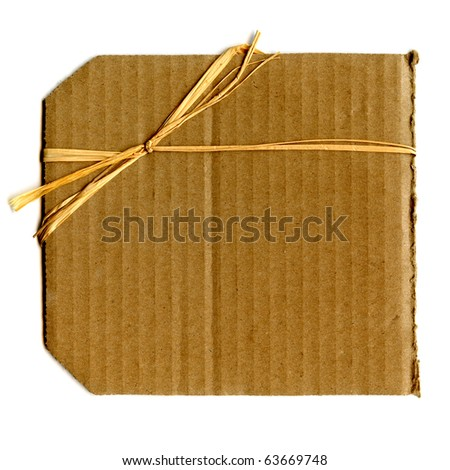 Real Cardboard With Bow Tied On One Corner And Isolated On White