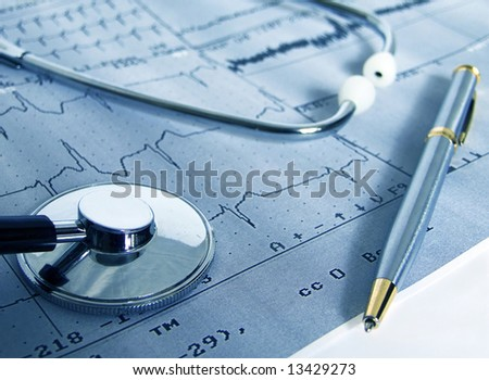 Real cardiological test with stethoscope - stock photo
