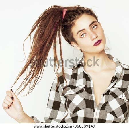 real caucasian woman with dreadlocks hairstyle funny cheerful faces on white - stock photo