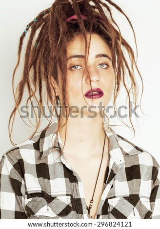 real caucasian woman with dreadlocks hairstyle funny cheerful faces on white background - stock photo