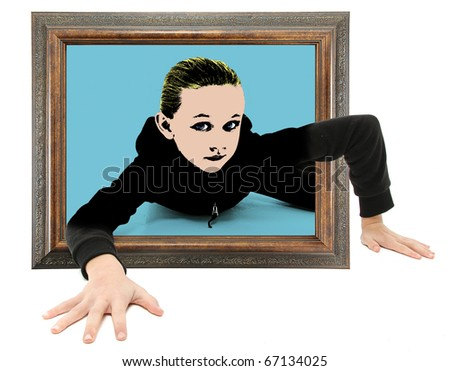 Real child crawling out of framed pop art on floor. - stock photo