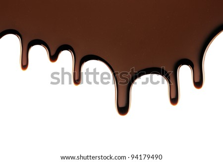 Real Chocolate Dripping on a Solid White Background - Isolated - stock photo