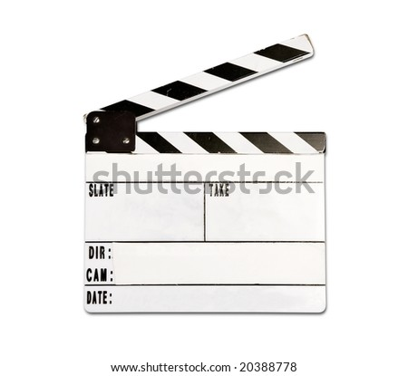 Real clap board with wear and tear isolated on white background