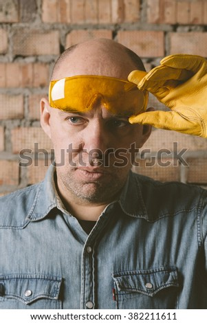 real construction worker - stock photo