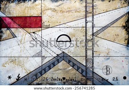 Real Contemporary Painting on Canvas about photography. - stock photo