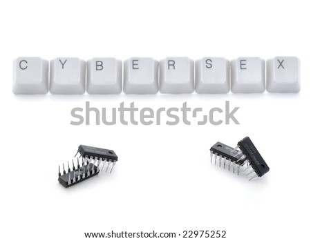 Real cybersex: microcircuits couples having sex isolated - stock photo