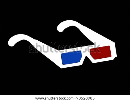 Real 3d glasses on black background - stock photo