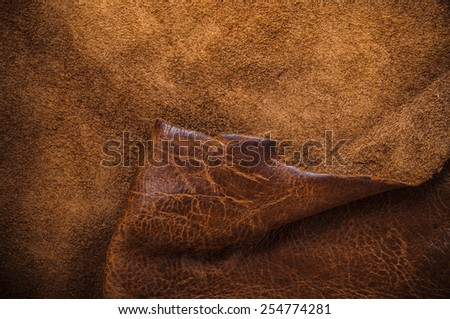 Real Dark Brown Leather and Suede for Concept and Idea Style of Fine Leather Crafting, Handmade Leather handcrafted, Background Textured and Wallpaper. - stock photo