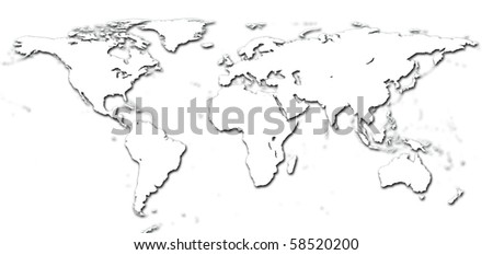 Real detail world map of continents.  Isolated on white fone. Real colur of continents. Scene reconstructed from real NASA foto of earth. - stock photo
