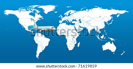 Real detail world map of continents. Isolated on white fone. Real colur of continents. Scene reconstructed from real NASA foto of earth. One aircraft. - stock photo