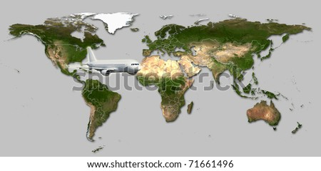Real detail world map of continents. Isolated on white fone. Real colur of continents. Scene reconstructed from real NASA foto of earth. Several aircraftes. - stock photo